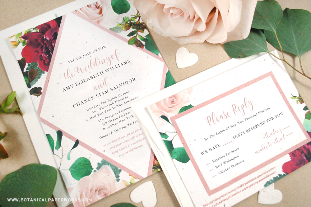 Learn more about the latest seed paper wedding invitation collection that is bursting with beautiful blooms!
