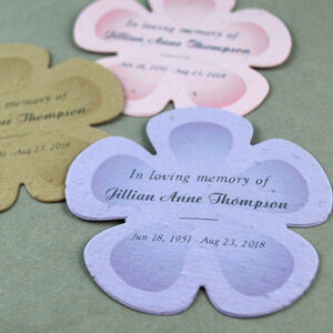 These Personalized Seed Paper Memorial Flowers are embedded with a blend of seven different seeds that blossom into real flowers when planted in soil.
