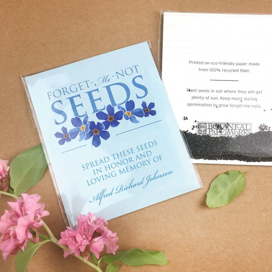 These Forget-me-not Seed Packet Memorial Favors can be distributed at the service, giving loved ones a chance to take them home to reflect and mourn in private as they scatter the seeds.