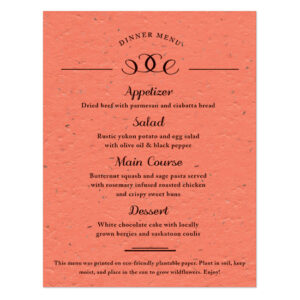 These Formal Text Plantable Menu Cards are perfect for eco-conscious couples.