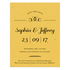 These Formal Text Plantable Save The Date Cards are elegant and eco-friendly.