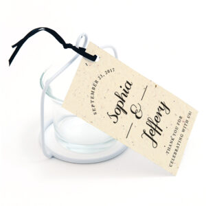 These Formal Text Plantable Favor Tags can be planted to grow a garden of wildflowers.