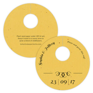 These Formal Text Plantable Wine Glass Tags are embedded with wildflower seeds so your guests can grow a blooming memory of the eco-friendly wedding they attended.
