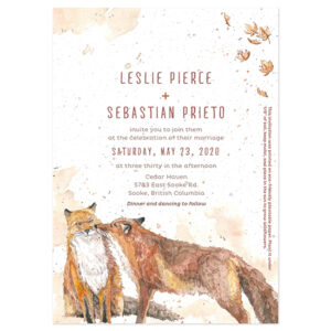 These unique eco-friendly Watercolor Foxes Seed Paper Wedding Invitations are a work of art that your guests get to plant!