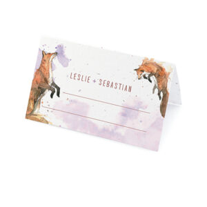 Give your guests a little work of art and the gift of wildlfowers with these hand-painted Watercolor Foxes Seed Paper Place Cards.