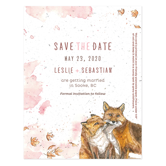 The adorable Watercolor Foxes Seed Paper Save The Date Cards are hand-painted and the paper is embedded with seeds so that your family and friends can plant the paper.