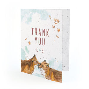 Not only is the hand-painted design of these Watercolor Foxes Seed Paper Thank You Cards captivating and unique, but so is the paper itself!