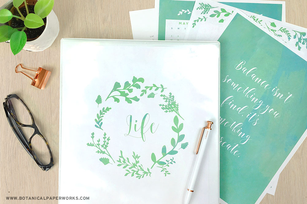 free printable day planner pages with teal and eucalyptus design