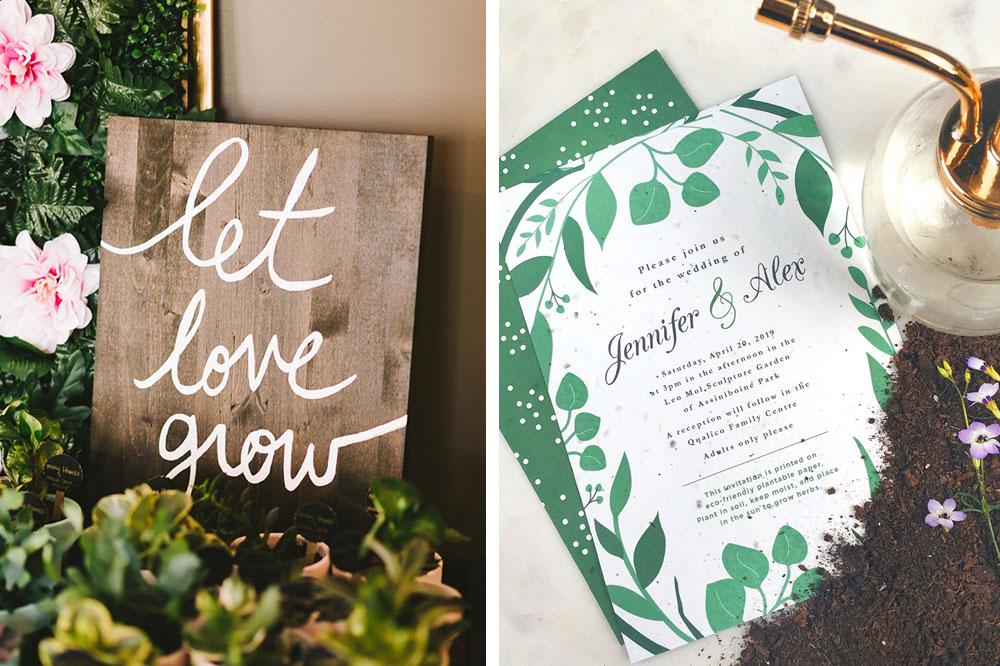 wedding invitation and wood sign