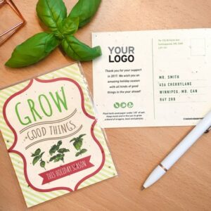Send your holiday greetings and a gift packed with herb seeds with these festive and fun Grow Good Things Plantable Holiday Postcards.