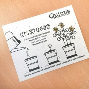 Add-your-logo, custom message, and contact details to this pre-designed seed card with a planting theme.