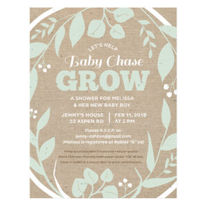 Eco-friendly yet elegant, these Grow Seed Paper Baby Shower Invitations invite guests to help the new baby GROW!