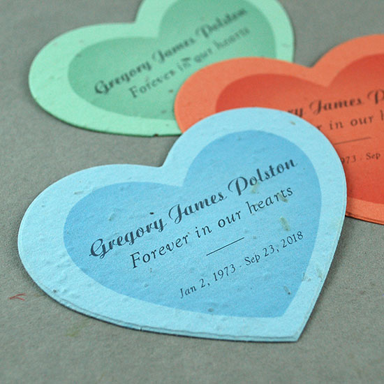 These Personalized Seed Paper Memorial Hearts are created with recycled materials that are embedded with NON-GMO seeds that blossom into wildflowers when planted either indoors or outdoors.