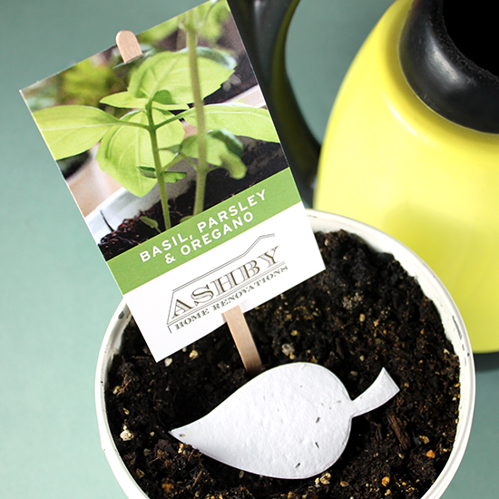 These fun Herb Seed Paper Planting Sticks give a plantable herb leaf gift as well as a planting stick to mark the spot!