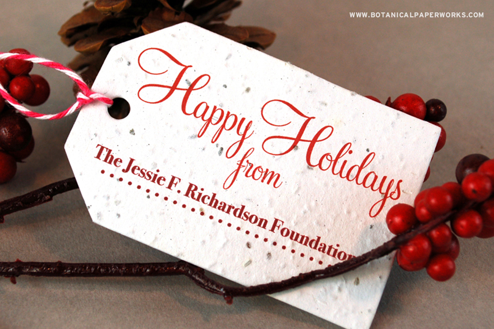 Eco-friendly Seed Paper Holiday Tags for corporate gifting or retail promotions.