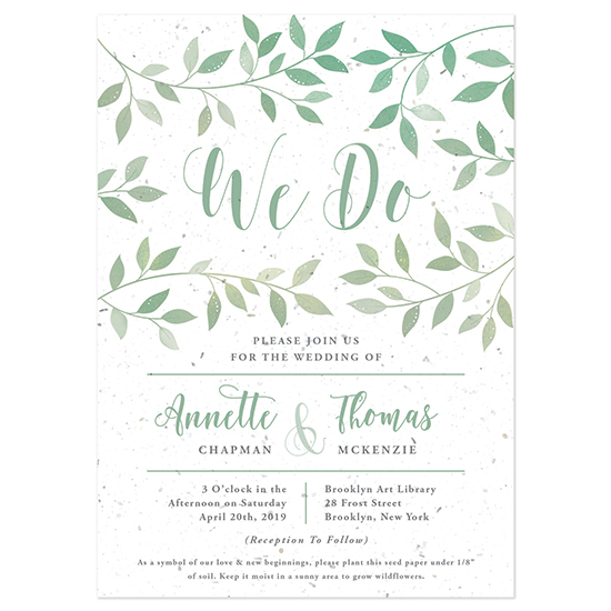 Your guests will love the symbolic gift of these Lovely Leaves Plantable Wedding Invitations to grow as a memento.