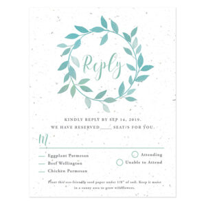 These unique Lovely Leaves Plantable Reply Cards will collect your wedding responses and then grow a garden of symbolic wildflowers in celebration!