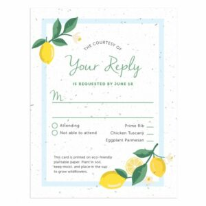 Add-on a matching seed paper reply card to your Lemons Wedding Invitations.