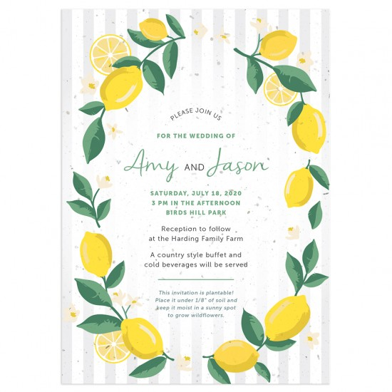 A bright and cheerful wedding invitation for hot summer weddings with lemonade cocktails!