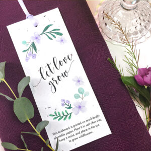 An eco-friendly wedding favor that grows! Choose from 4 designer color options.