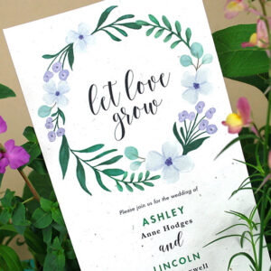 These Let Love Grow Plantable Wedding Invitations are a unique way to celebrate your wedding that won't leave any waste behind, just beautiful wildflowers to honor your love and the Earth.