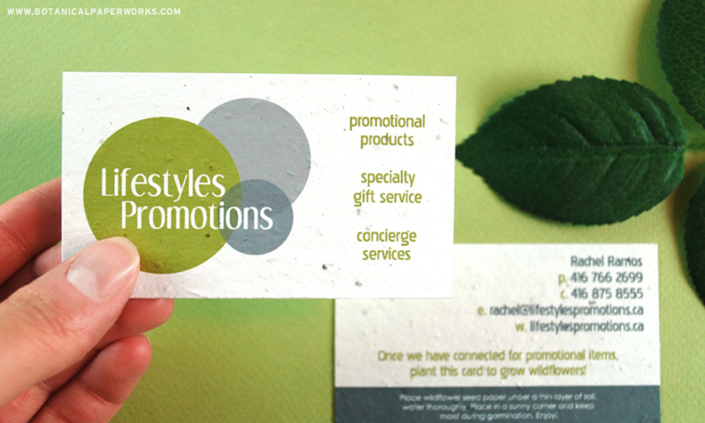 Lifestyles Promotions seed paper business cards