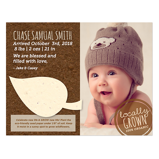 With a seed paper leaf attached to these Locally Grown Plantable Leaf Photo Birth Announcements, friends and family will be thrilled to celebrate the new life by planting new life!