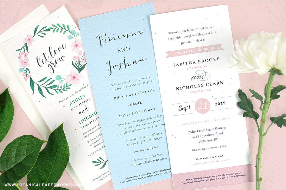 long plantable wedding invitations