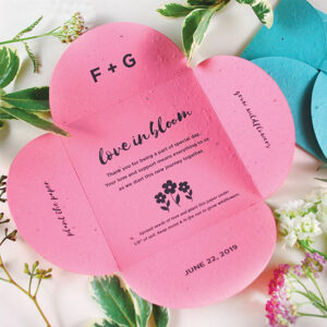 Give a blooming message of thanks to your friends and family with these unique Love in Bloom Plantable Petal Card Wedding Favors.