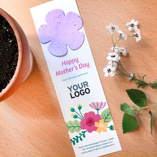 A great Mother's Day giveaway that shares a gift to plant and a branded bookmark to keep and use!