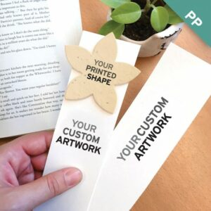 These Large Eco Bookmarks With Printed Shape have tons of room for your branding and you can even print your logo or additional full-color artwork on the plantable shape!
