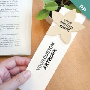These Large Eco Bookmarks With Printed Shape are the ultimate choice for branding because you can actually print your logo or additional full-color artwork on the seed paper shape!