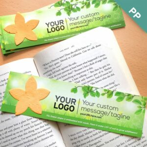 Add-your-logo and custom message to this eco bookmark with plantable flower shape.