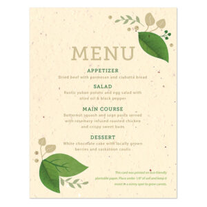 Embellished with fresh green touches, these eco-friendly Lush Greenery Plantable Menu Cards share your menu details and give a wedding favor to your guests.