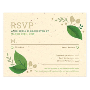 These earthy Lush Greenery Plantable Reply Cards are the perfect addition for eco-friendly weddings.