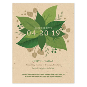 Fresh, vibrant and full of life, these Lush Greenery Plantable Save The Date Cards will share the news of your wedding date in an eco-friendly way!
