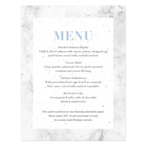 These trendy Marble Plantable Menu Cards will help decorate your place settings as well as give your guests a gift to take home and plant.