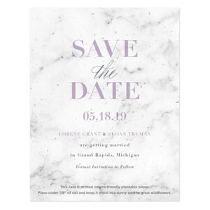 When these Marble Plantable Save The Date Cards are planted in soil, your guests will get to watch a small garden of flowers grow in the months leading up to your event.