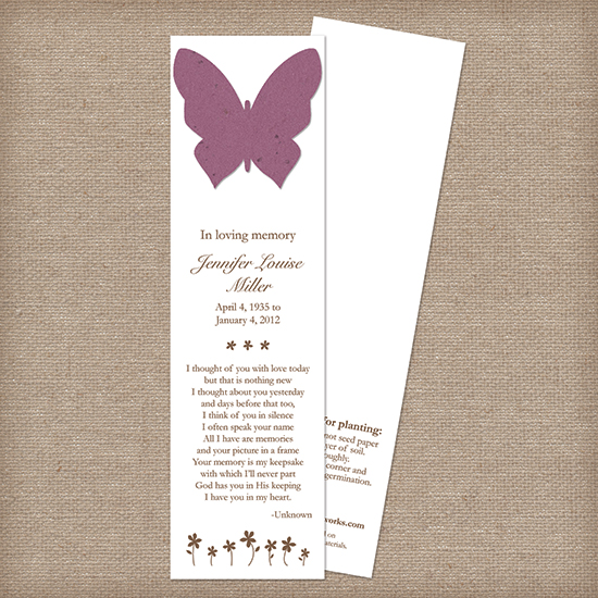butterfly memorial bookmark