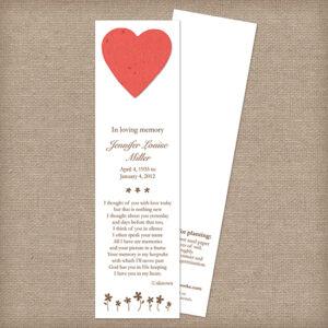 heart memorial bookmarks