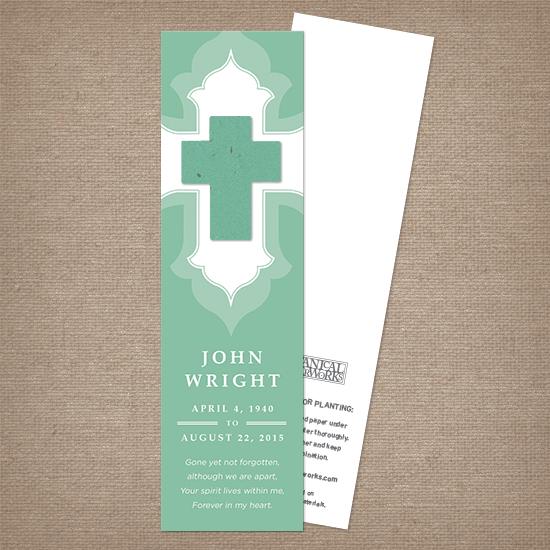 Ornate Cross Memorial Bookmarks