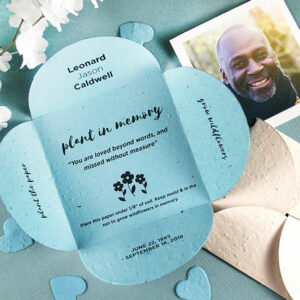 Recipients will love that they can plant these Plant In Memory Memorial Petal Cards after the service in their own moment of reflection.