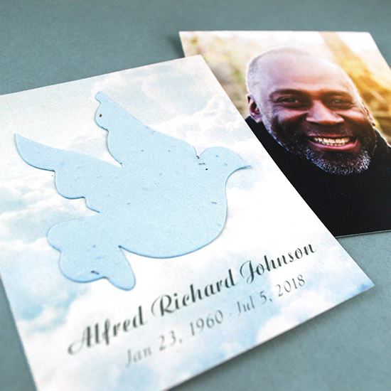 With these touching Dove in Flight Photo Memorial Seed Cards, those grieving will have a photographic keepsake as well as a seed paper dove that will provide comfort in a truly special way when they plant it.