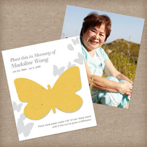 With these Flutter Photo Memorial Seed Cards, those grieving will receive a special keepsake photograph of the person who has passed away along with a seed paper butterfly shape.