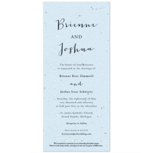 Designed for the stylish minimalist, these timeless Minimalist Calligraphy Plantable Wedding Invitations highlight the subtle beauty of the seed paper texture.