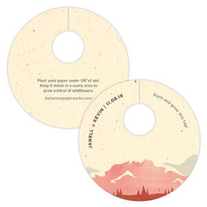 Perfect for eco-conscious couples who love the great outdoors, these Mountain Plantable Wine Glass Tags are inspired by the natural beauty of mountain landscapes.