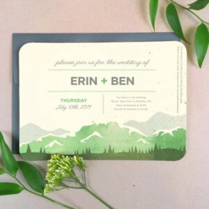 This picturesque mountain wedding invitaion is made from seed paper to be 100% eco-friendly and leave no waste behind.