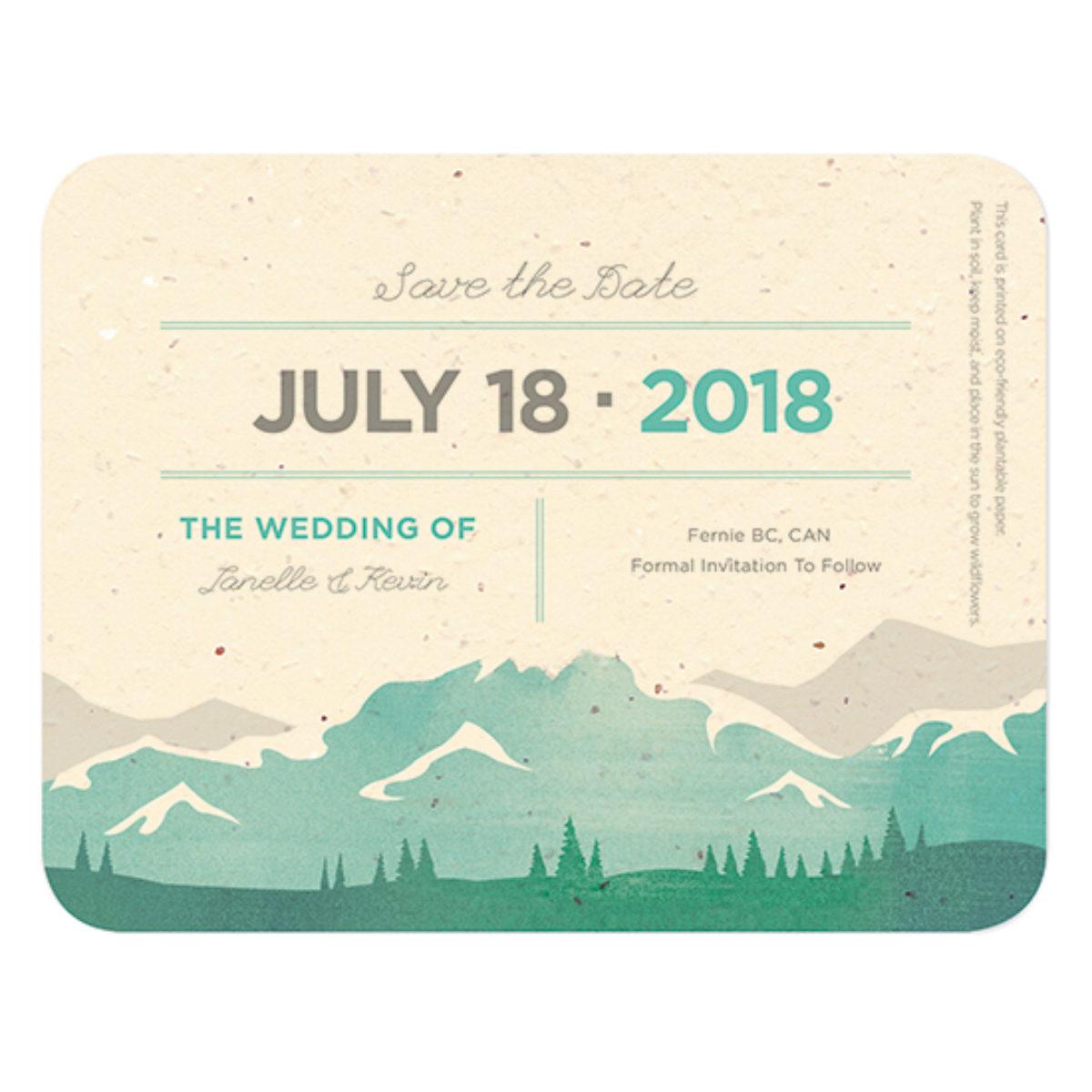 Save the Date Includes Back Side Printing Botanical Envelope Card