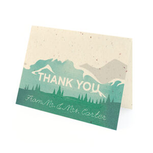 These Mountain Seed Paper Thank You Cards are perfect for couples who strive to remain eco-friendly.