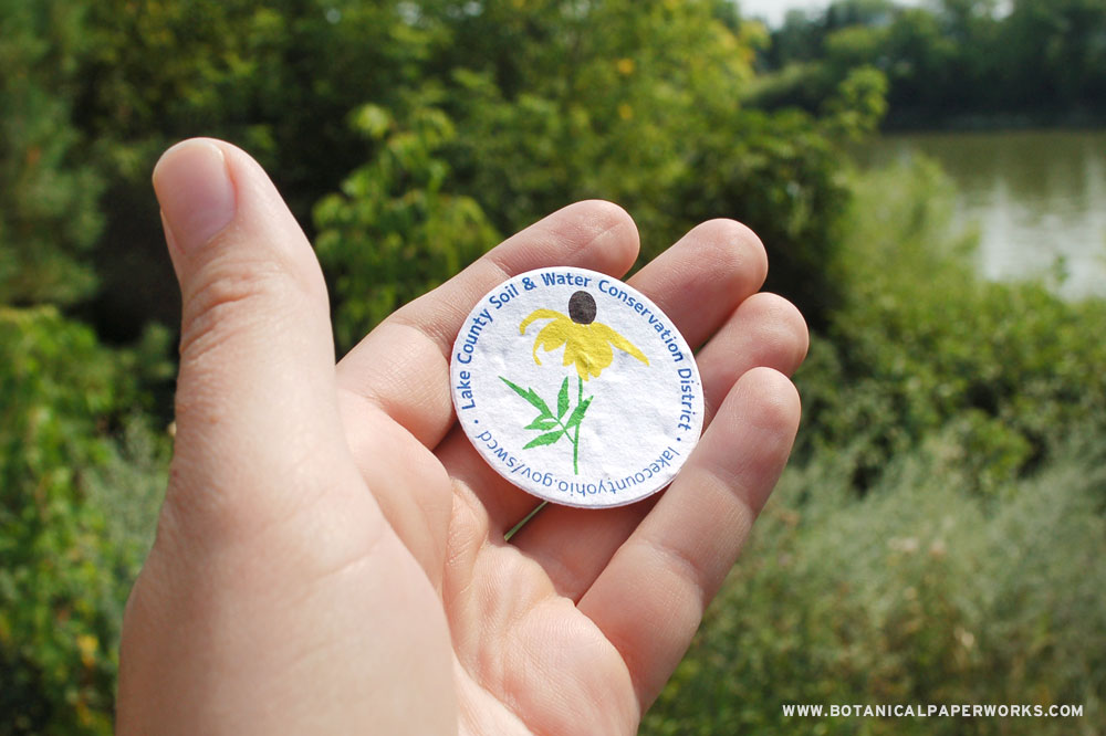 How Lake County Soil & Water Conservation District used native seed paper giveaways from Botanical PaperWorks to give and grow yellow coneflowers.
